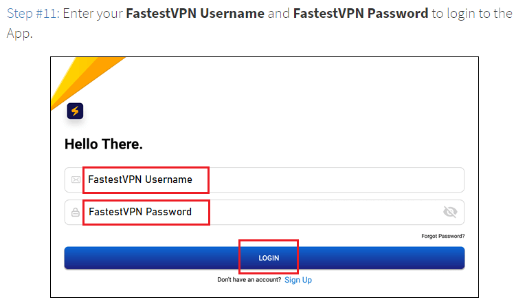 Step 11 Enter FastestVPNUser Name