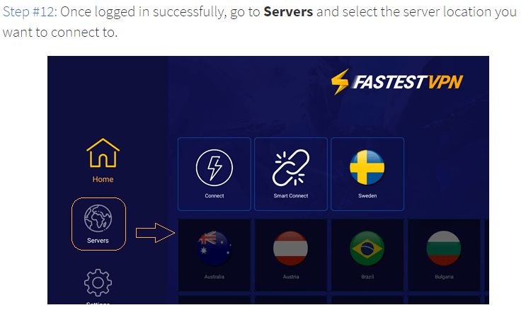 Step 12 Go to Servers