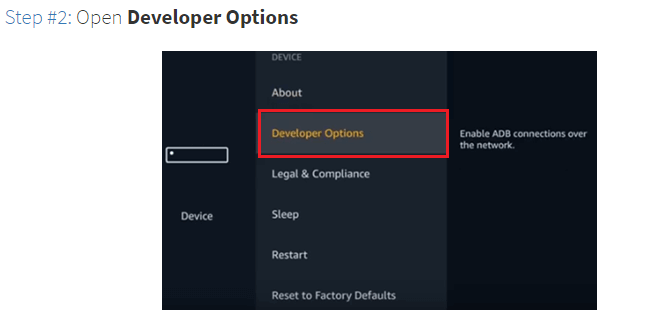 Step 2 Open Developer Options