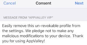 AppValley Consent notification